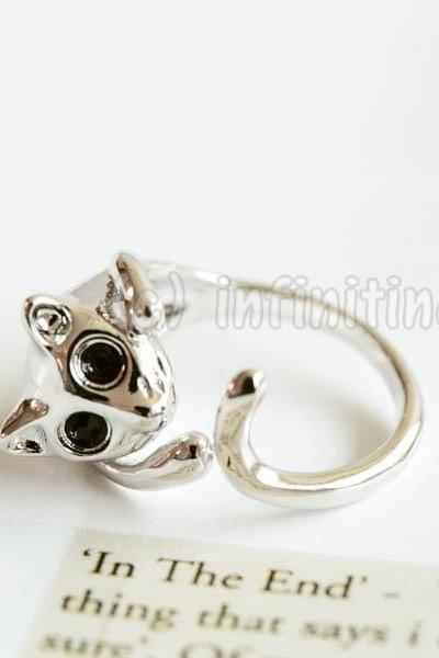 Silver Glazed cat ring,RN2599