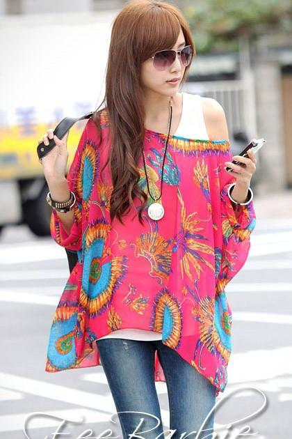 Cute Off Shoulder Bat wing Sleeve Printed Chiffon Blouse in Rose Red