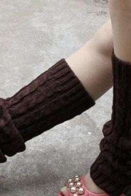 Free Shipping Brown Leg Warmers-Brown Knitted leg Warmers-Winter Body Accessories for Women