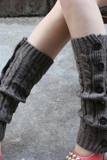 Free Shipping Gray Leg Warmers-Gray Knitted leg Warmers-Winter Body Accessories for Women