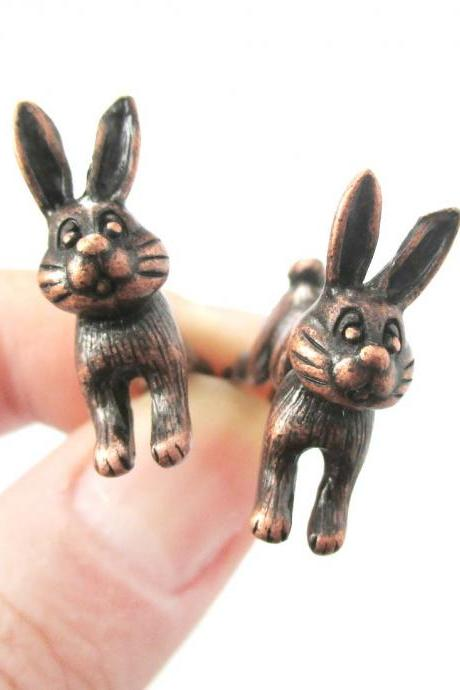 Unique Fake Gauge Cartoon 3D Bunny Rabbit Animal Stud Earrings in Copper