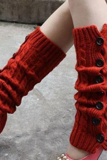 RED Leg Warmers-RED Knitted leg Warmers-Leg Warmer with Buttons-Long Leggings