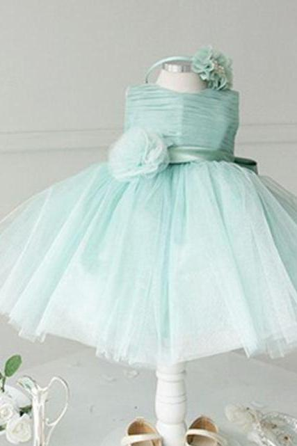 MINT GREEN Ball Gown Wedding Flower Girls Dress-Balloon Type Dress for Toddler Girls-Elegant High Quality Ball Gow Dress