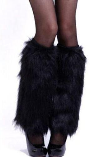 Black Fur Leg Warmer-40cm High Shoe Boots Cover Faux Fur Women Leg Warmer