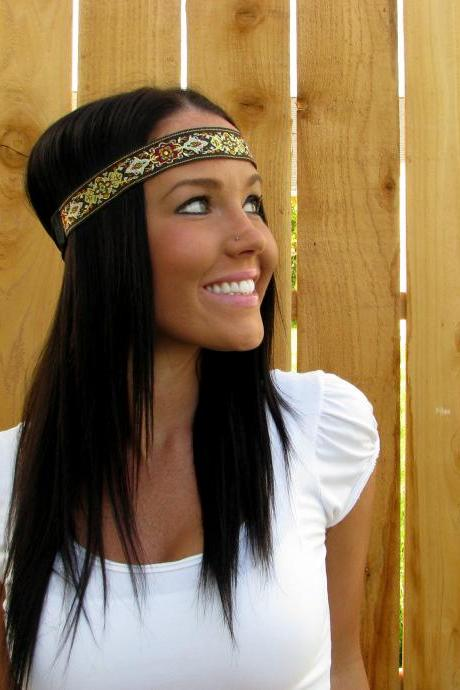 Boho Hippie Indie Chic Red, Blue, Green, Brown, Black, Yellow, Orange, Gold Ribbon Reversible Headband Girl Woman Accessory Hair Bands Floral Head Wrap