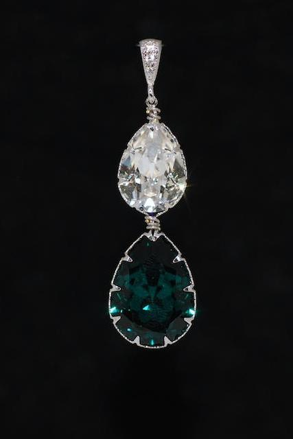 CZ Detailed Pendant with Swarovski Clear Teardrop and Emerald Green Teardrop Crystals - Wedding Jewelry, Bridal Jewelery (P069)