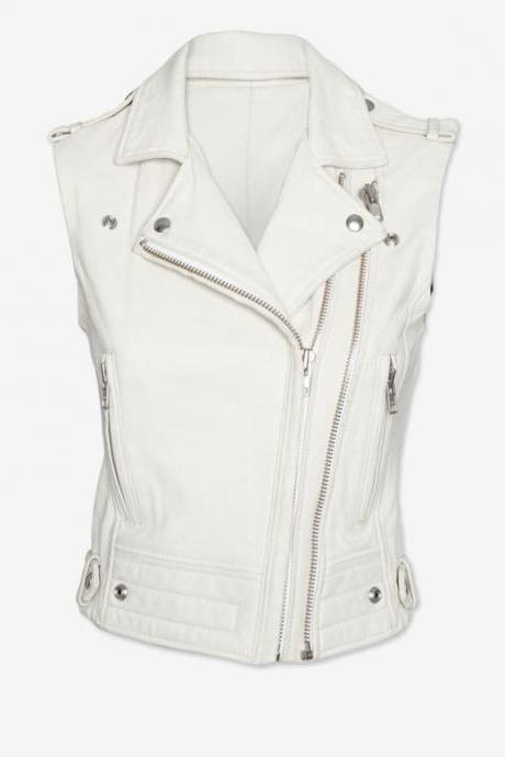 MEN'S LEATHER VEST, MEN WHITE BIKER JACKET