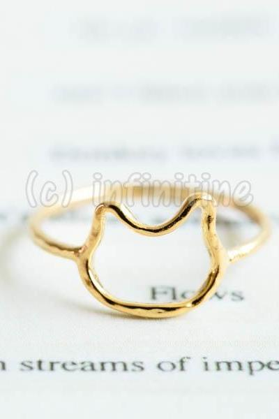 Gold Hammered line kitty knuckle ring,RN2601