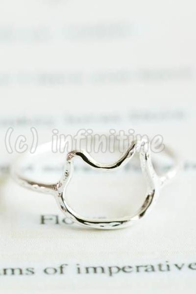 Silver Hammered line kitty knuckle ring,RN2601
