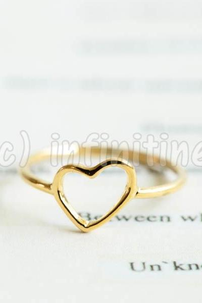 Gold Simple mini slanted heart knuckle ring,RN2603