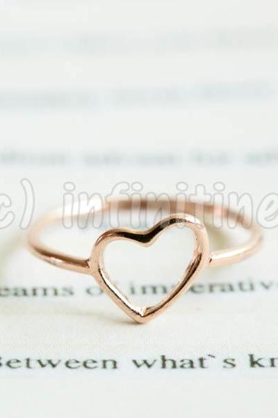 Rose gold Simple mini slanted heart knuckle ring,RN2603
