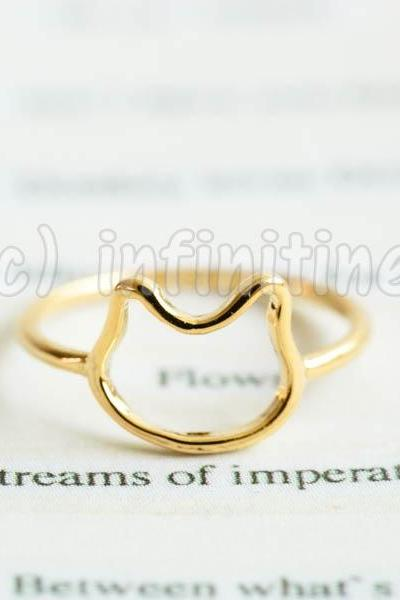 Gold Simple line baby kitty knuckle ring,RN2604