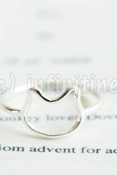 Silver Simple line baby kitty knuckle ring,RN2604