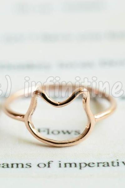 Rose gold Simple line baby kitty knuckle ring,RN2604