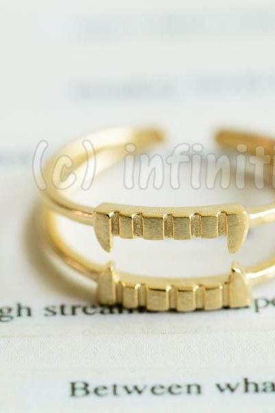 Gold Vampire teeth adjustable ring,RN2588