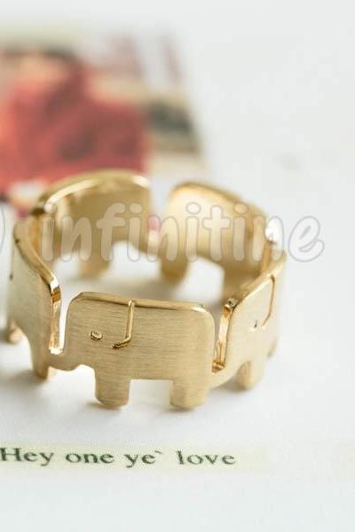 Gold Wrap around elephant ring,RN2590