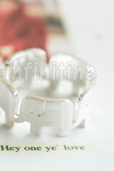 Silver Wrap around elephant ring,RN2590