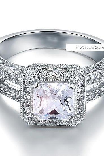 Victorian Art Deco Princess Cut 1.5 Carat CZ Diamond in 925 Sterling Silver (sizes from 6 thru 9)