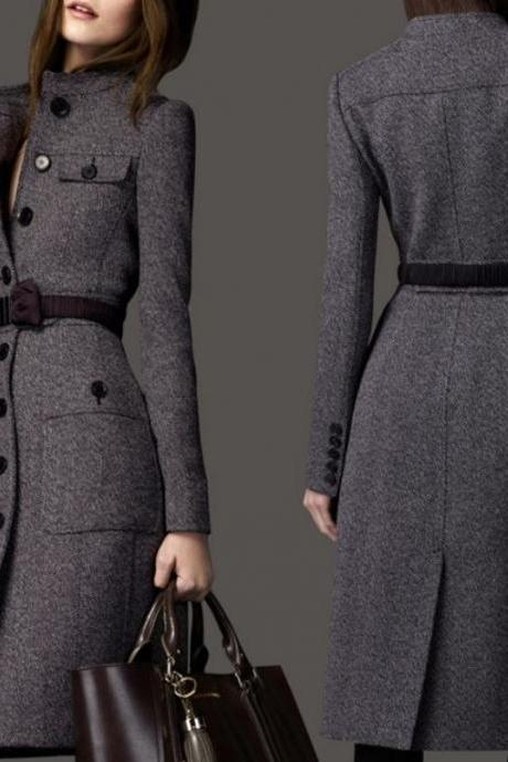 Gray Wool Overcoats for Women Medium Size,Size 6,Size 8,Size 10 Womens Elegant Ultra Gray Coats
