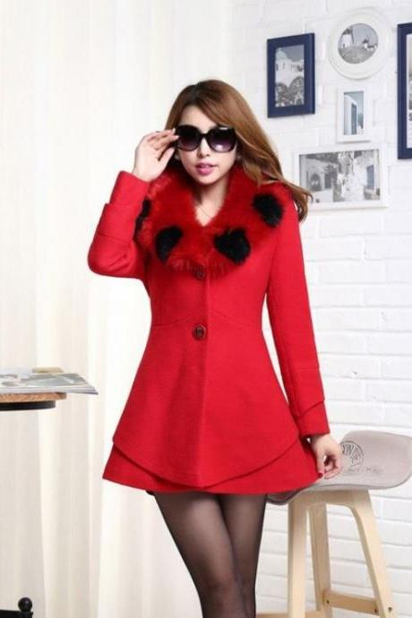 Red Wool Jacket with Nagymaros Collar Coat