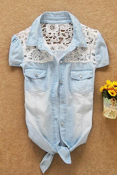 Lace stitching denim shirt JEb