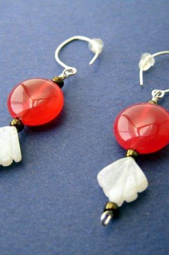 Earrings - Red Jade Coins Moonstone Sterlng