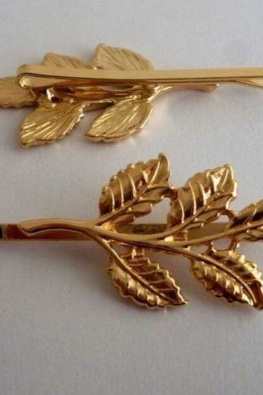 Golden Clips Hairpins Headdress Golden Leaves Pins
