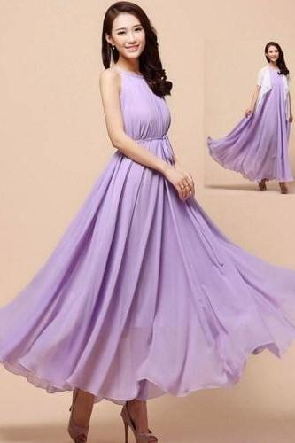 Purple Maxi Dress for Women Prom Bridesmaids Outfit