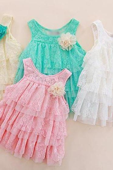 White Baby Dress Tops Floral Lace for Baby Girls-FREE SHIPPING