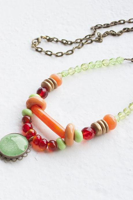Boho Beaded Necklace with Lampwork Glass Beads Handmade - Colorful Necklace
