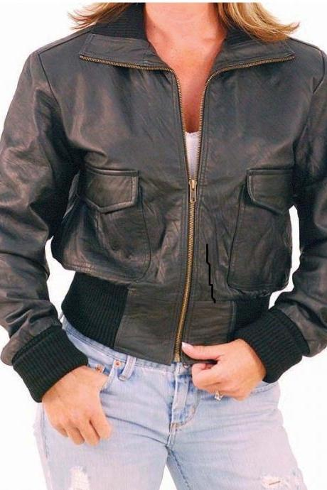 Handmade Ladies Lambskin Leather Jacket - Bomber, leather bomber jacket