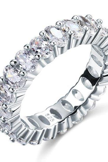 925 Solid Sterling Silver Diamonique Oval Cut 5Ct Eternity/Wedding Ring Band - available sizes 6,7,8 only