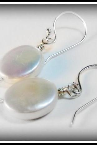 Earrings - Satin White Freshwater Pearls Ovals Sterling Ear Wires