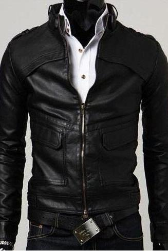 Handmade men lather jacket, slim fit men leather jacket
