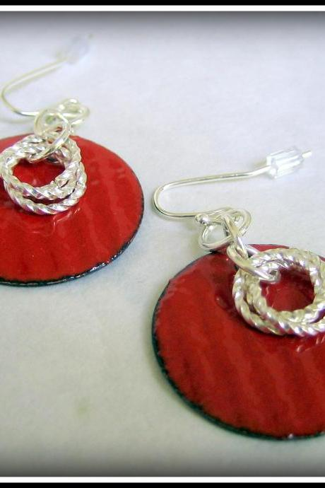 Earrings - Red Enameled Copper Silver Twist Rings
