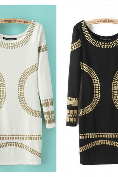 Elegant Long Sleeve Metallic Gold Design Dress in Black and White
