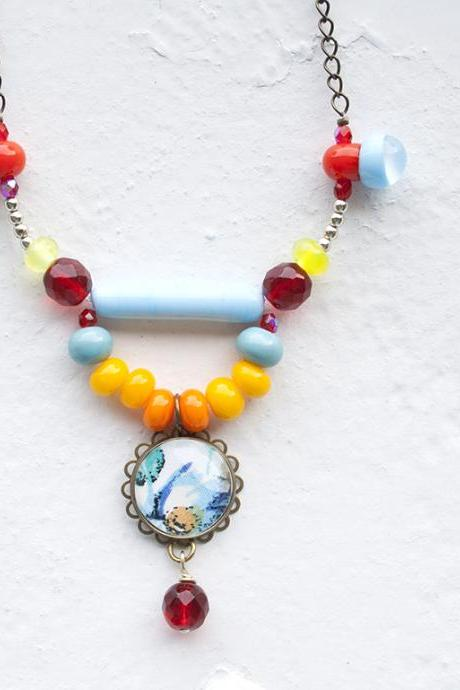Beaded Necklace with Lampwork Glass Beads Handmade - Colorful Necklace - Boho chic