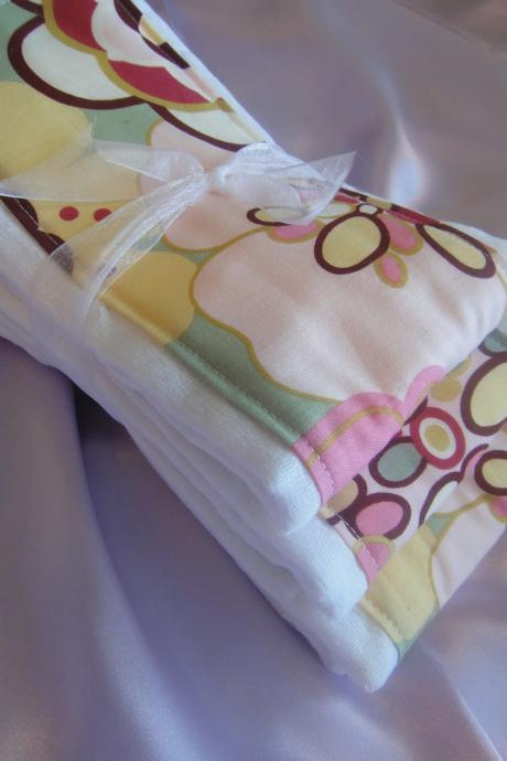 Baby Burp Cloth Set Pink Yellow Flower and Bubbles Print