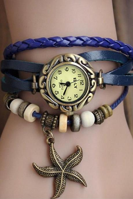 Starfish Leather Bracelet Wrist Watch