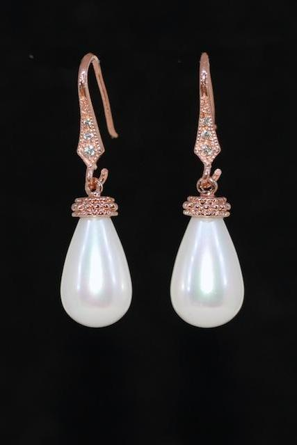 Wedding Jewelry, Bridal Earrings, Bridesmaid Gift - Rose Gold Plated Cubic Zirconia Detailed Earring Hook with White Briolette Pearl (E698)