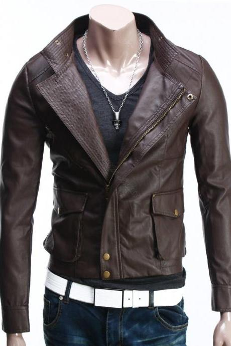 men slim fit leather jacket,leather jacket for men,leather jacket men,men outerwear