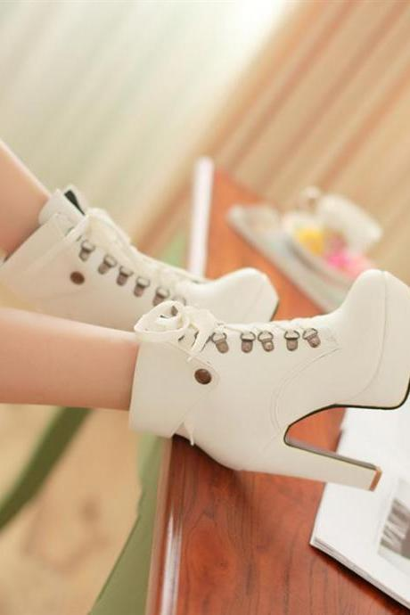 High Heel Lace Up White Martens Ankle Boots