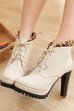 White Leopard Print Design Pointed Toe High Heels Ankle Boots
