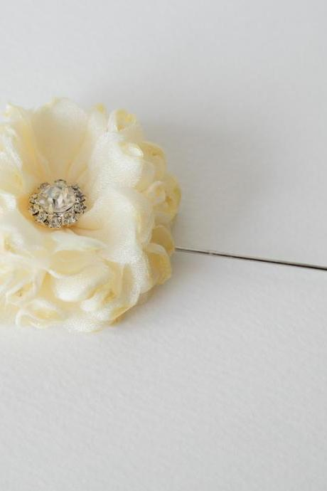 Crystal ESTHER-Men's flower Boutonniere/Buttonhole for wedding,Lapel pin,hat pin,tie pin