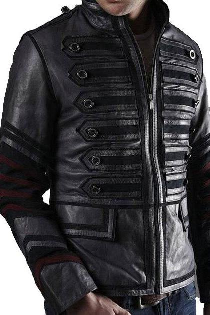 Men's black Military Leather Jacket, men leather jacket black