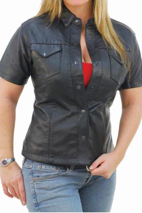 Womens leather shirt, short sleeves shirt for women