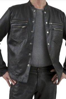 Men leather shirt, 6 front button shirt, real leather shirt