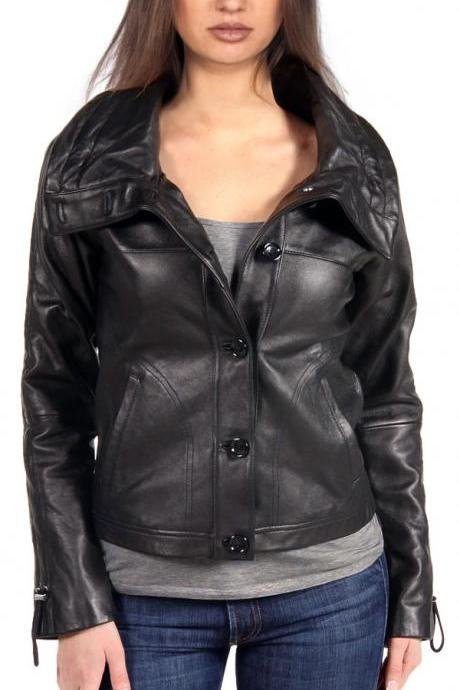 Beautiful Leather Jacket for Women, women biker leather jacket