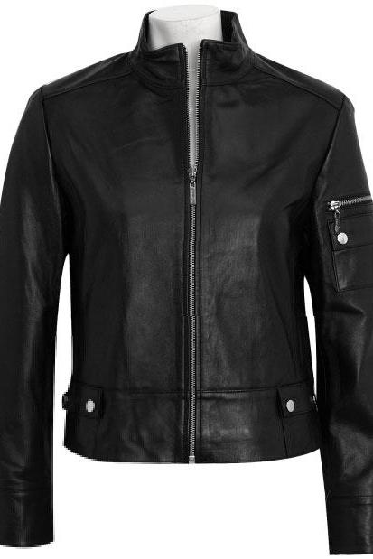 Stylish Women Biker Jacket, black women leather jacket