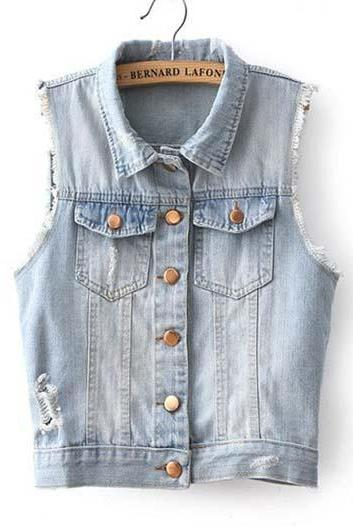 Cute Turndown Collar Button Fly Woman Denim Vest